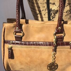 GAL Bags - GAL tan vegan leather w brown trim